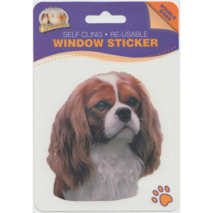 Cavalier Blenheim Dog Self Cling Re-usable Window Sticker