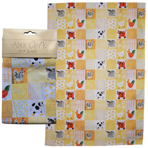 Kitchen Tea Towel 100% Cotton Checkerboard Farm By Alex Clark