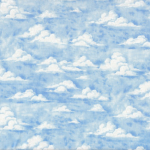 White Clouds on Blue Sky Nature Landscape Quilt Fabric