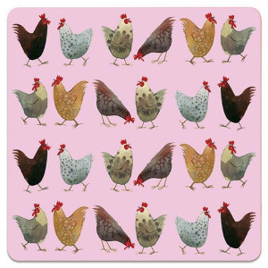 Hens Chickens on Pink Cork Backed Drink Coaster By Alex Clark