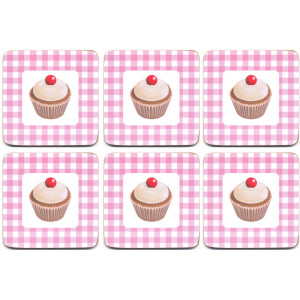 Set of 6 Cork Backed Coasters Cupcakes Cup Cakes Design