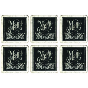 Set of 6 Cork Backed Drink Coasters Cafe Menu de Jour