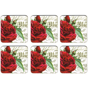 Set of 6 Cork Backed Drink Coasters Botanical Red Roses
