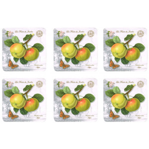Set of 6 Cork Backed Drink Coasters  Les Fruits du Jardin