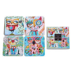 Coasters Cork Backed Drink Wise Cats and Owls Set of 4