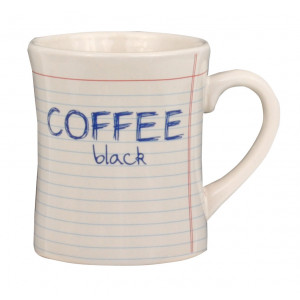 Notebook Style Coffee Black Ceramic Cup Mug