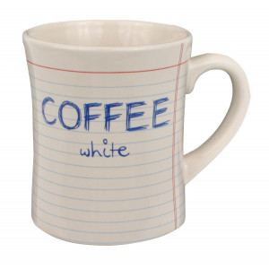 Notebook Style Coffee White Ceramic Cup Mug