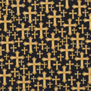 Gold Crosses with Metallic Gold Religious Quilt Fabric