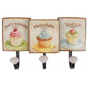 Cupcakes Design Metal Triple Coat Hook