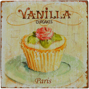 Vanilla Cupcakes Shabby Rustic Tin Sign