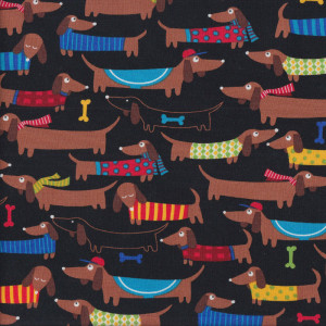 Cute Dachshund Dogs with Colourful Coats on Black Quilt Fabric