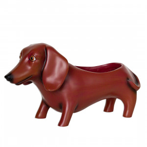 Dachshund Sausage Dog Brown Resin Indoor Pot Planter