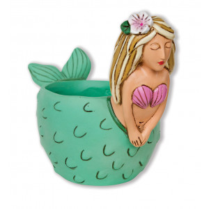 Mermaid Green Resin Indoor Pot Planter