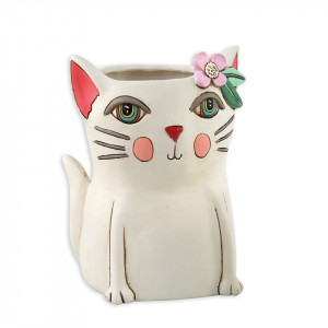 Pretty Kitty Cat White Resin Indoor Pot Planter