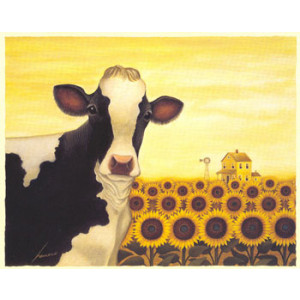 Sunflower Cow Greeting Card by Lowell Herrero