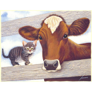 Cow and Kitten Greeting Card by Lowell Herrero