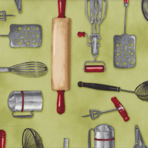 Kitchen Utensils on Green Kiss The Cook Quilt Fabric