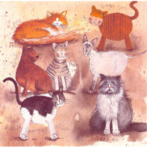 Cats William & Henry Greeting Card by Alex Clark