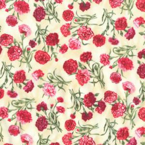 Carnations on Cream Quilt Fabric