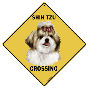 Shih Tzu Shihtzu Dog Crossing Road Sign