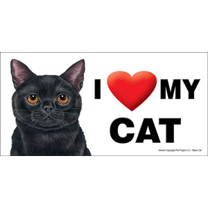 I Love My Cat Fridge Office Fun Magnet Black