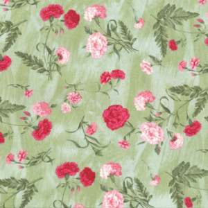 Carnations on Green Quilt Fabric
