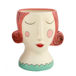 Red Rose Lady Resin Indoor Pot Planter