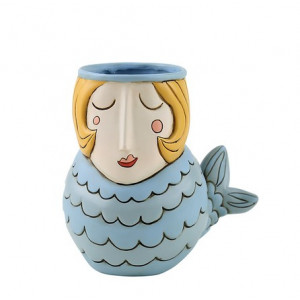 Mermaid Blue Resin Indoor Pot Planter Vase
