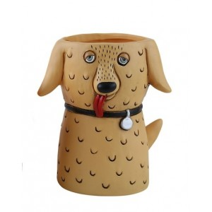 Baby Goldie Dog Small Resin Indoor Pot Planter