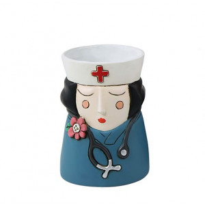 Baby Medi Nurse Girl Black Hair Small Resin Indoor Pot Planter