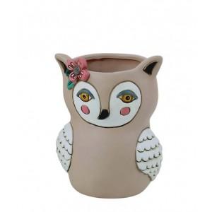 Baby Sweet Brown Owl Small Resin Indoor Pot Planter