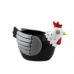 Baby Chook Hen Black and White Small Resin Indoor Pot Planter