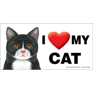 I Love My Cat Fridge Office Fun Magnet Black and White