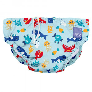 Deep Sea Blue Design Reusable Baby Swim Nappy Large by Bambino Mio