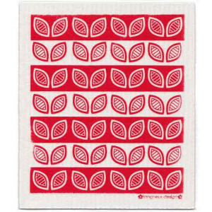 Red Leaves Design Eco Friendly Kitchen Dishcloth