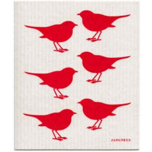 Red Birds Design Eco Friendly Kitchen Dishcloth