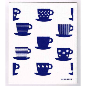 Blue Tea Cups Design Eco Friendly Kitchen Dishcloth