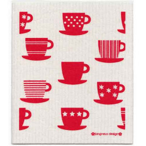 Red Tea Cups Design Eco Friendly Kitchen Dishcloth