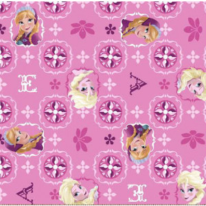 Disney Frozen Pink Glitter Anna Elsa Girls Licensed Quilt Fabric