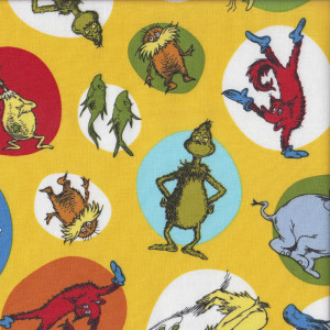 Dr Seuss Celebrate on Yellow Quilting Fabric