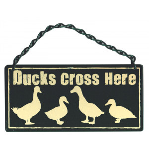 Ducks Cross Here Metal Home & Garden Sign