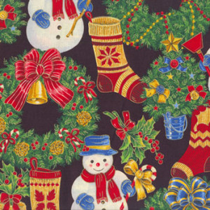 Christmas Snowmen Wreaths Quilting Fabric