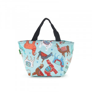 Colourful Llamas on Blue Insulated Foldable Lunch Bag