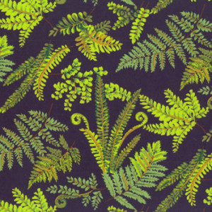 New Zealand NZ Ferns on Black Quilting Fabric