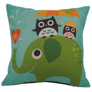 Elephant And Cute Owls Design Square Cushion