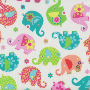 Cute Elephants Romp on White Quilt Fabric