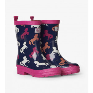 Playful Horses Shiny Kids Rainboots Gumboots By Hatley