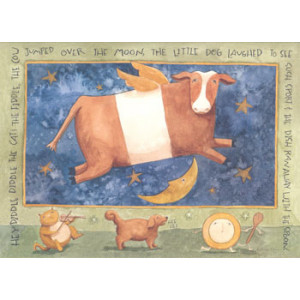 Cow Jumped Over The Moon Greeting Card by Teresa Kogut