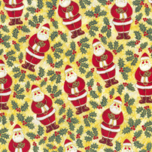 Christmas Santas & Holly Quilting Fabric