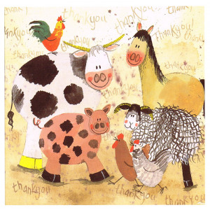 Farmyard Thanks Cow Horse Pig Sheep Chickens Greeting Card